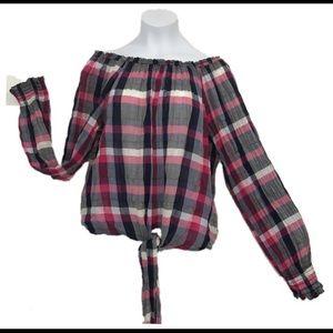 Sanctuary tie front blouse top size small plaid